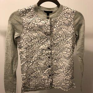 NWT J Crew Gorgeous Grey Floral Sweater Sz XXXS